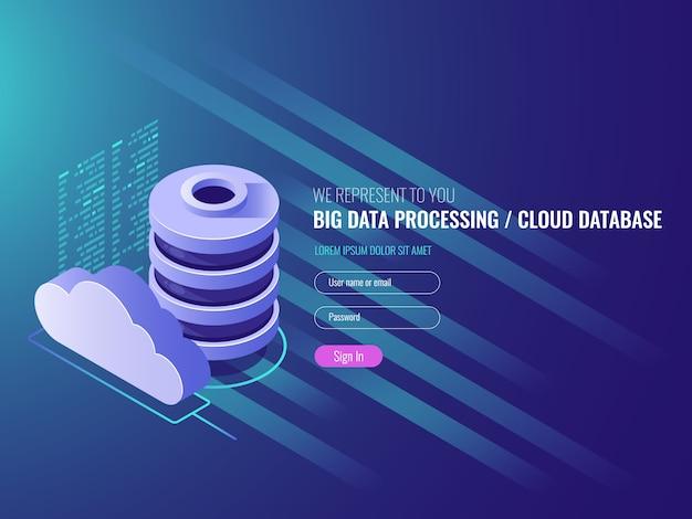 Servizi di archiviazione dati cloud, icone di codice del programma cloud database