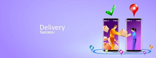 Servizi di consegna online tramite smartphone. concetto mobile di consegna espressa tramite corriere e cliente porta a porta. illustrazione