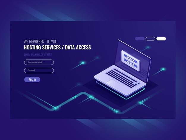 Servizi di hosting, modulo di autorizzazione utente, password di accesso, registrazione, laptop