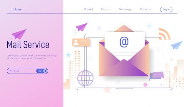 Servizi di posta elettronica iscriversi online e ricevere newsletter tramite laptop