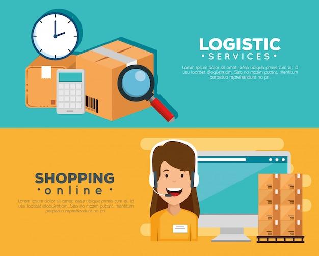 Servizi logistici con agente di supporto e set di banner per computer