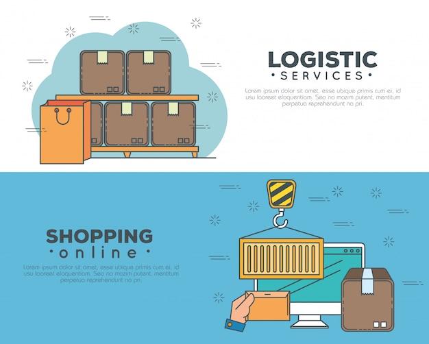 Servizi logistici con set di banner per computer
