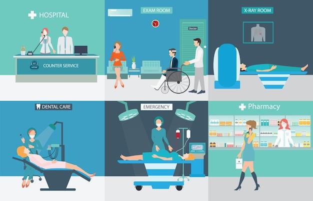 Servizi medici con medici e pazienti negli ospedali.