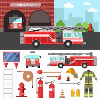 Servizio antincendio e set di attrezzature.
