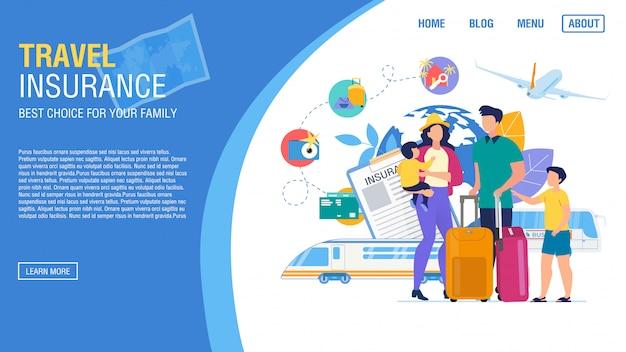 Servizio assicurativo per l'offerta della pagina di destinazione dell'agenzia turistica