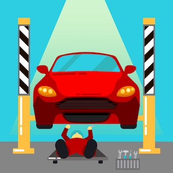 Servizio auto. riparazioni auto e diagnostica. maintanence automatico. serviceman al lavoro. illustrazione vettoriale