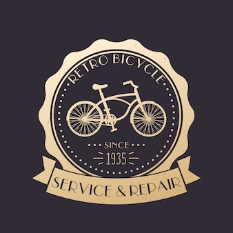 Servizio biciclette retrò e riparazione logo vintage, emblema con vecchia bici, oro su oscurità