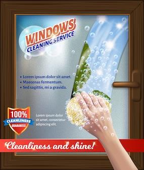 Servizio clean windaws. bastone in mano. lavare la finestra.