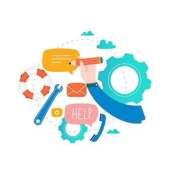 Servizio clienti, supporto tecnico, guida in linea