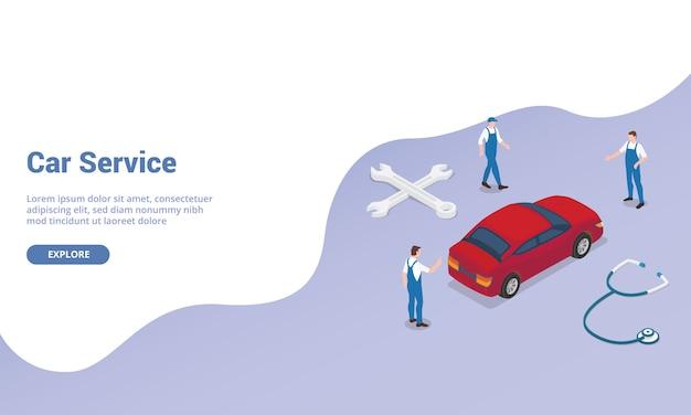 Servizio dell'automobile con il meccanico del tecnico dell'ingegnere del gruppo con l'automobile e soldi con stile piano moderno isometrico per il modello del sito web.