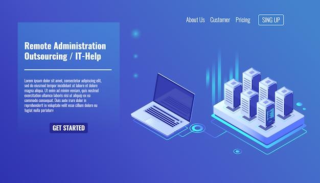 Servizio di amministrazione remota, concetto di outsourcing, aiuto, rack room del server