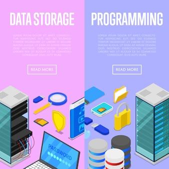 Servizio di archiviazione dati e programmazione banner web set