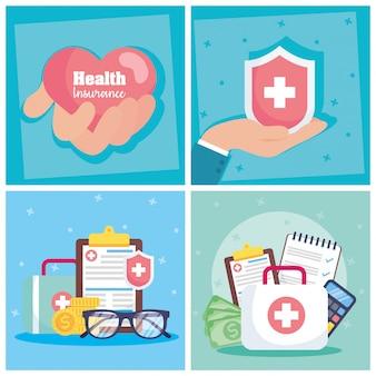 Servizio di assicurazione sanitaria con cuore e scudo