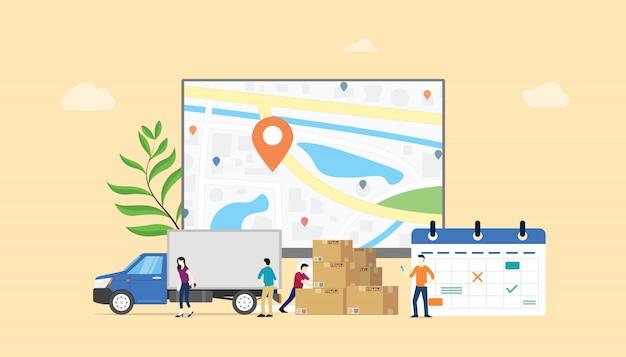 Servizio di calendario del sistema di consegna online con persone del team