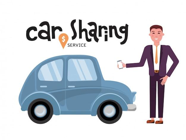 Servizio di car sharing online. l'uomo d'affari prenota l'automobile dall'app sul telefono cellulare. servizio di trasporto online.
