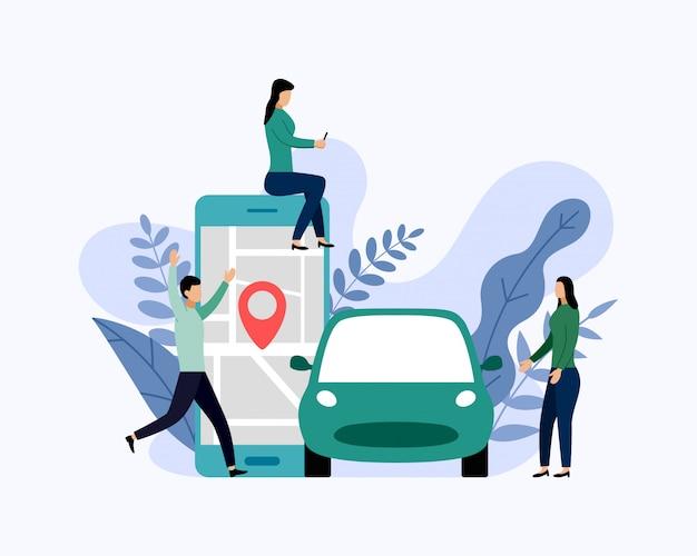 Servizio di car sharing, trasporto mobile della città, illustrazione di vettore di concetto di affari
