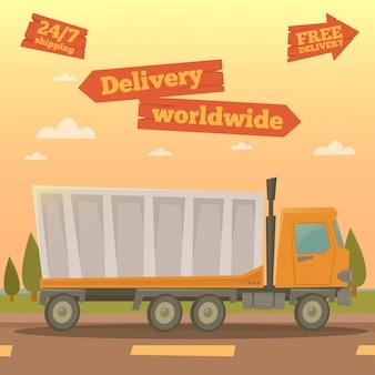 Servizio di carico. camion di consegna in tutto il mondo. industria logistica. illustrazione vettoriale