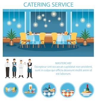 Servizio di catering per modello di pagina web per banchetti