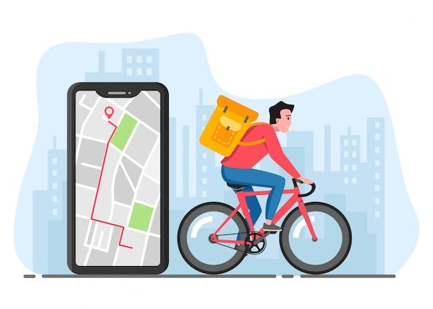 Servizio di consegna biciclette. equipaggi la bicicletta di guida con la scatola in grande città. applicazione di consegna e navigazione