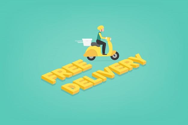 Servizio di consegna cibo concetto di commercio elettronico tramite corriere scooter. applicazione mobile di monitoraggio di un uomo di consegna su un ciclomotore.