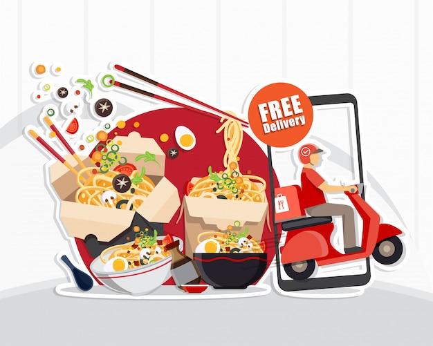 Servizio di consegna cibo, servizio di consegna scooter, illustrazione