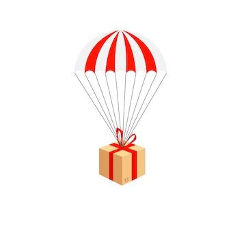 Servizio di consegna. composizione consegna pacchi paracadute. paracadute con pacco, dono nel cielo.