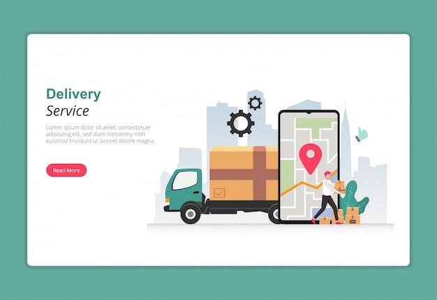 Servizio di consegna con il concetto di design di autotrasporti. carattere del corriere che trasporta il pacco da consegnare al cliente.