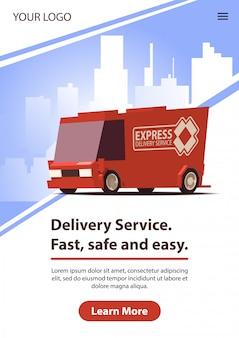 Servizio di consegna con macchina di consegna rossa. illustrazione.