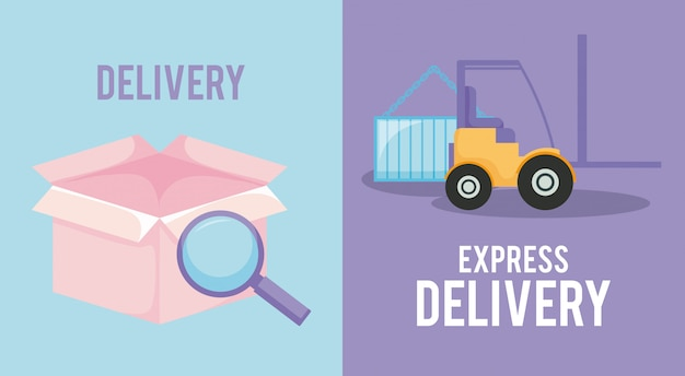 Servizio di consegna con scatola e carrello elevatore