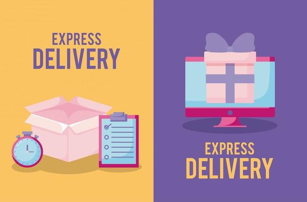 Servizio di consegna con scatola e monitor