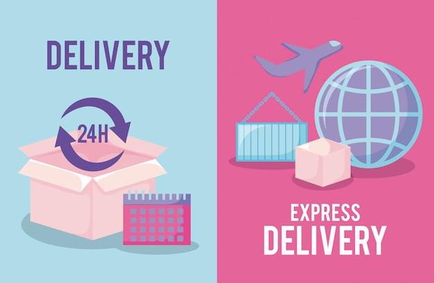 Servizio di consegna con scatola e set s