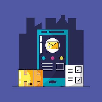 Servizio di consegna con smartphone e icone