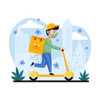Servizio di consegna con uomo su scooter e maschera