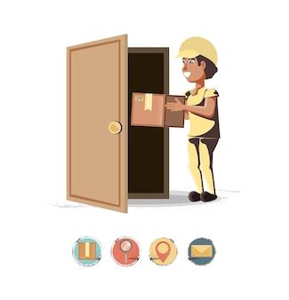 Servizio di consegna corriere con ilustration di vettore icona casella