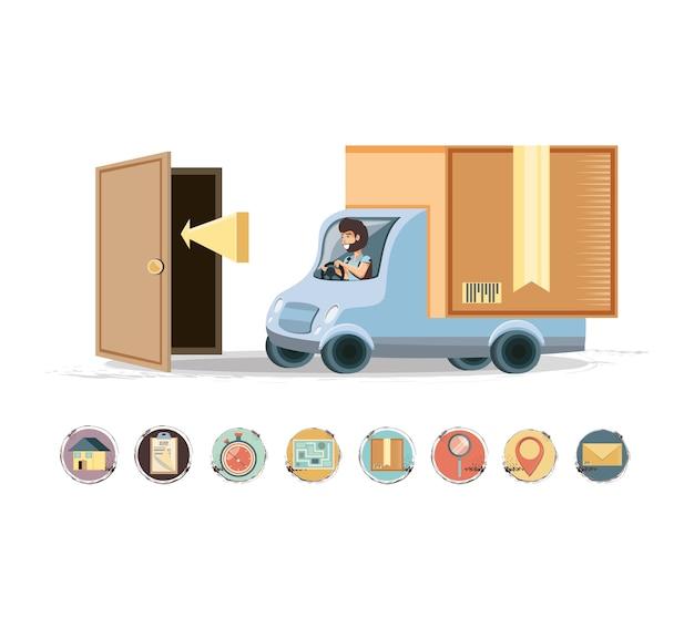 Servizio di consegna corriere nel vettore di icona di camion