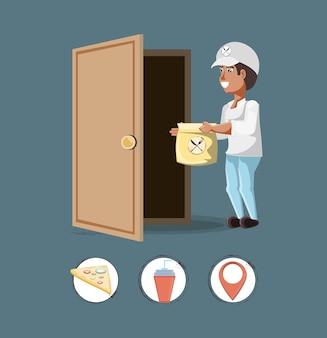 Servizio di consegna del corriere con ilustration stabilito di vettore dell'icona delle icone