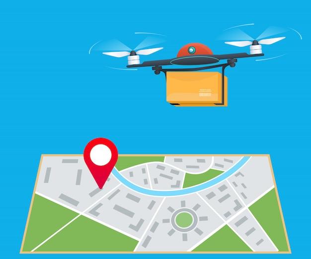 Servizio di consegna di droni, drone che sorvola una mappa con perno di localizzazione e trasporto di un pacco al cliente