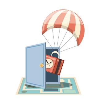 Servizio di consegna di generi alimentari con ilustration di vettore dell'icona del paracadute