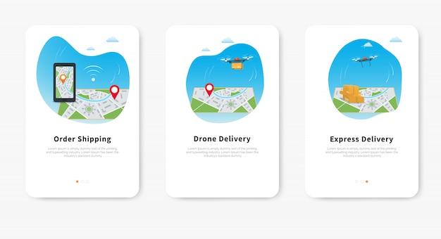 Servizio di consegna drone espresso, pacchetto di trasporto quadricoptero sulla mappa con perno di posizione, mappa gps del telefono cellulare per il monitoraggio della spedizione.