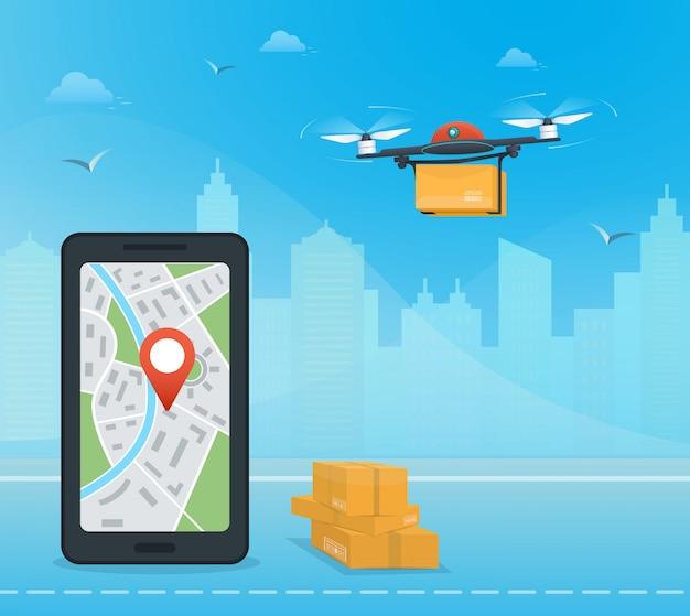 Servizio di consegna droni con il pacchetto contro la città, smartphone con app mobile per il monitoraggio delle spedizioni dei droni