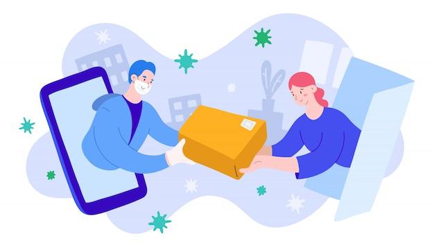 Servizio di consegna durante la quarantena del coronavirus, ordine online
