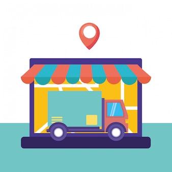 Servizio di consegna logistica con l'illustrazione del camion e del computer portatile