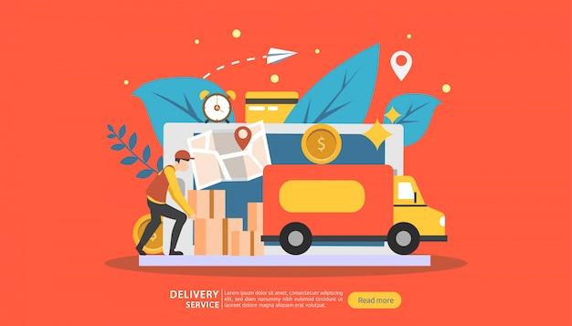 Servizio di consegna online. ordina il concetto di tracciamento espresso con un piccolissimo personaggio e un furgone carico.