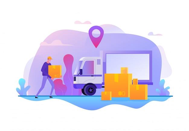 Servizio di consegna online. trasporto veloce di merci illustrazione vettoriale. offerte di lavoro per movimento merci