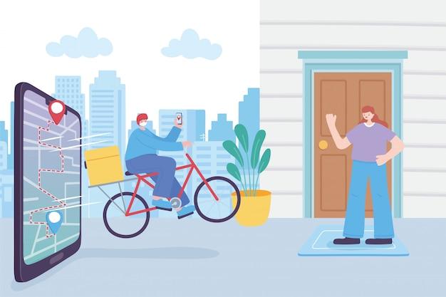 Servizio di consegna online, uomo con maschera e smartphone in bici, cliente stare a casa, illustrazione di coronavirus