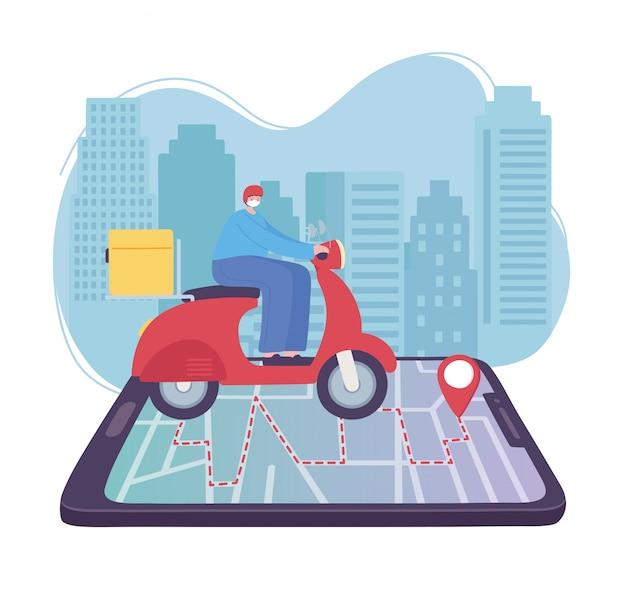 Servizio di consegna online, uomo in sella a uno scooter sulla mappa dello smartphone al puntatore, trasporto veloce e gratuito, spedizione ordini, illustrazione del sito web dell'app