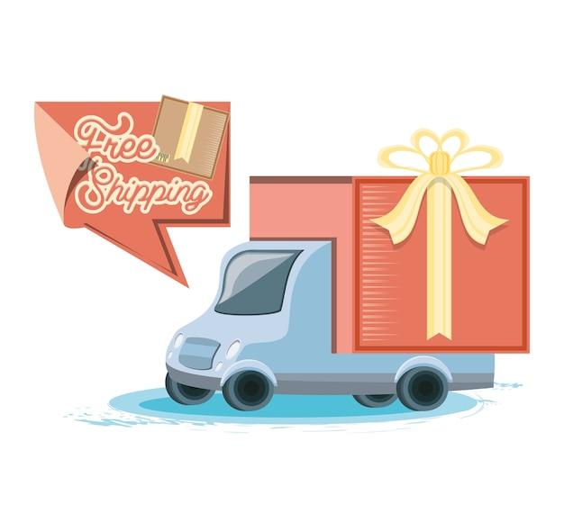Servizio di consegna veloce con ilustration di vettore di viaggio del camion