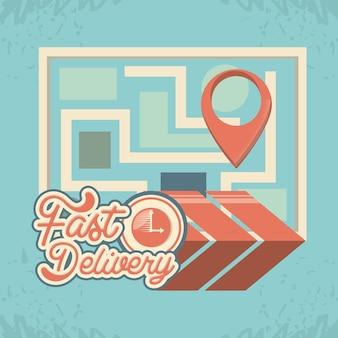 Servizio di consegna veloce con ilustration di vettore di viaggio mappa mondo