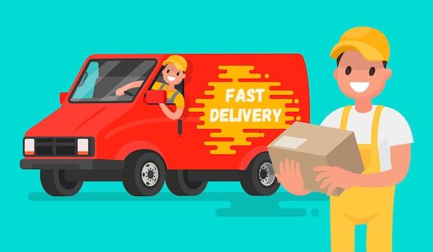 Servizio di consegna veloce. illustrazione in uno stile piatto per app mobili e siti web.