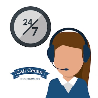 Servizio di cuffia per donna con call center